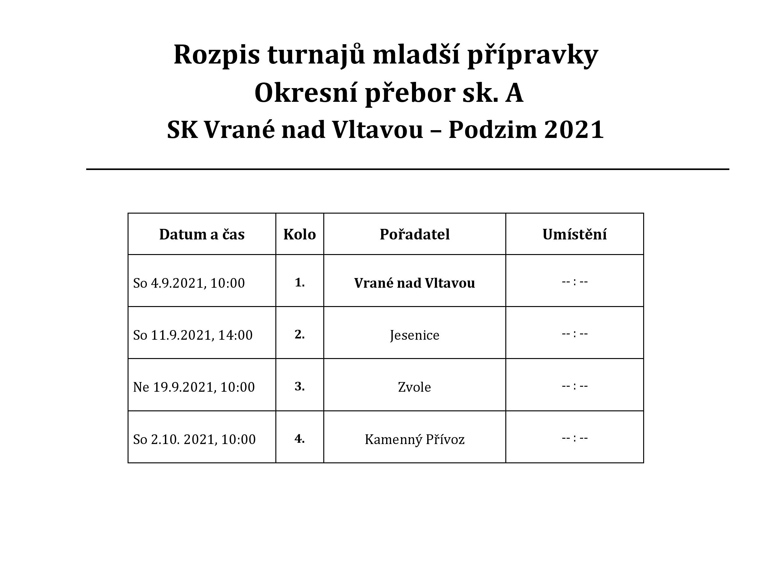 Rozpis zápasů 2021 - ml. přpravka